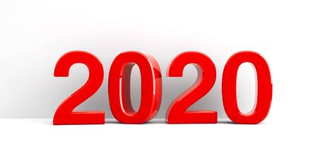 Red 2020 symbol, icon or button on white wall, represents the new year 2020, three-dimensional rendering, 3D illustration Stock fotó