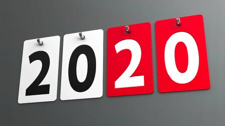 Plates 2020 on gray wall, represents the new year 2020, three-dimensional rendering, 3D illustration