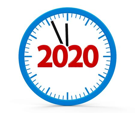 Modern isolated clock on white background represents new year 2020, three-dimensional rendering, 3D illustration