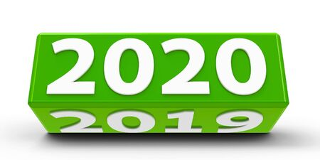 Green cube (сuboid) with 2019-2020 change on a white table represents the new 2020, three-dimensional rendering, 3D illustration Stok Fotoğraf