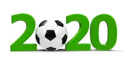 Green 2020 with football isolated on white background, represents 2020 football competition, three-dimensional rendering, 3D illustration Stok Fotoğraf