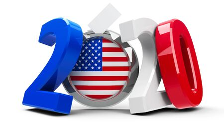 Figures 2020 in the colors of american flag with badge isolated on white background, represents Presidential Election 2020 in USA, three-dimensional rendering, 3D illustration