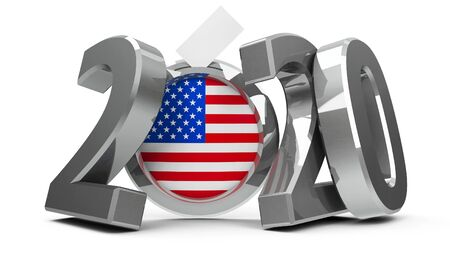 Figures 2020 with american flag badge isolated on white background, represents Presidential Election 2020 in USA, three-dimensional rendering, 3D illustration Stock Photo