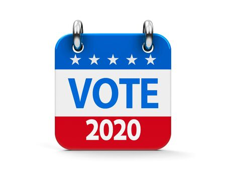 Vote election 2020 calendar icon as american flag - represents the Election Day 2020 in USA, three-dimensional rendering
