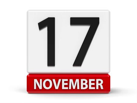 Red and white calendar icon from cubes - The Seventeenth of November - on a white table - International Students Day, World Prematurity Day, three-dimensional rendering, 3D illustration