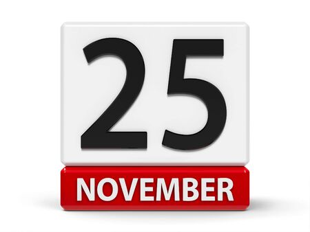 Red and white calendar icon from cubes - The Twenty Fifth of November - on a white table - Day for the Elimination of Violence against Women, three-dimensional rendering, 3D illustration