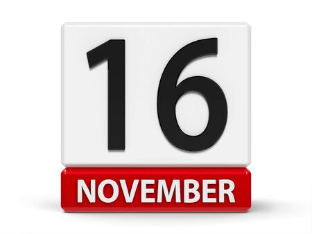Red and white calendar icon from cubes - The Sixteenth of November - on a white table - International Day for Tolerance, three-dimensional rendering, 3D illustration