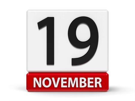 Red and white calendar icon from cubes - The Nineteenth of November - on a white table - International Mens Day and World Toilet Day, three-dimensional rendering, 3D illustration
