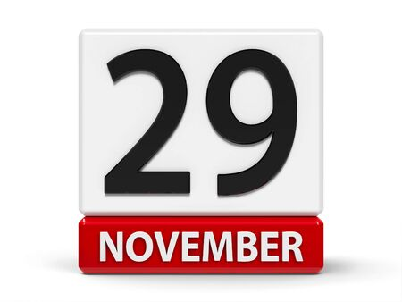 Red and white calendar icon from cubes - The Twenty Ninth of November - on a white table - Day of Solidarity with the Palestinian People, three-dimensional rendering, 3D illustration Stock fotó