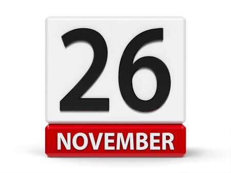 Red and white calendar icon from cubes - The Twenty Sixth of November - on a white table - World Information Day, three-dimensional rendering, 3D illustration