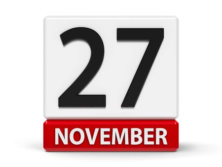 Red and white calendar icon from cubes - The Twenty Seventh of November - on a white table, three-dimensional rendering, 3D illustration