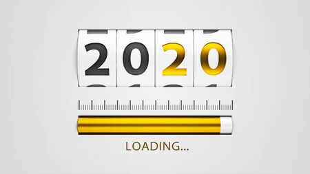 Design component of a counter dial that is showing loading new year 2020, three-dimensional rendering, 3D illustration