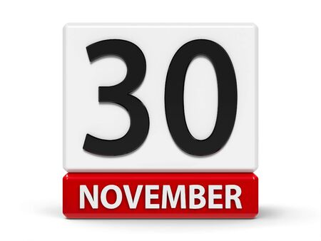 Red and white calendar icon from cubes - The Thirtieth of November - on a white table - World Pets Day, Computer Security Day, three-dimensional rendering, 3D illustration Stock fotó