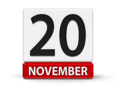 Red and white calendar icon from cubes - The Twentieth of November - on a white table - Universal Childrens Day, Africa Industrialization Day, three-dimensional rendering, 3D illustration