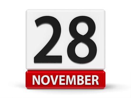 Red and white calendar icon from cubes - The Twenty Eighth of November - on a white table - Independence Day in Albania, three-dimensional rendering, 3D illustration Stock fotó