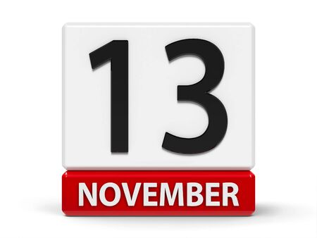 Red and white calendar icon from cubes - The Thirteenth of November - on a white table - World Kindness Day and International Day of the Blind, three-dimensional rendering, 3D illustration