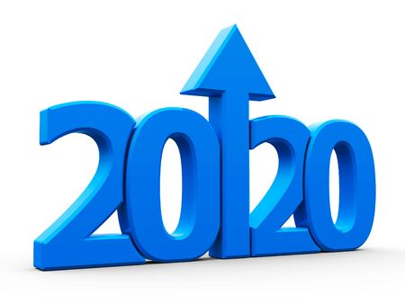 Blue 2020 with arrow up isolated on white background, represents growth in the new year 2020, three-dimensional rendering, 3D illustration