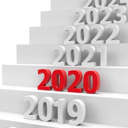 2020 future on podium represents the new year 2020, three-dimensional rendering, 3D illustration