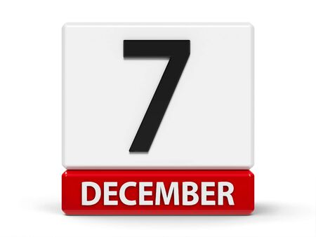 Red and white calendar icon from cubes - The Seventh of December - on a white table - Civil Aviation Day, Pearl Harbor Remembrance Day, three-dimensional rendering, 3D illustration