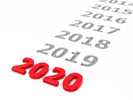 2020 past represents the new year 2020, three-dimensional rendering, 3D illustration Stock fotó
