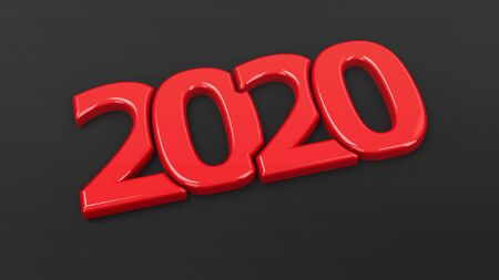 Red 2020 symbol on black background, represents the new year 2020, three-dimensional rendering, 3D illustration
