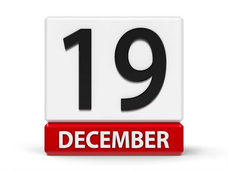 Red and white calendar icon from cubes - The Nineteenth of December - on a white table - International Day to Assist the Poor, three-dimensional rendering, 3D illustration