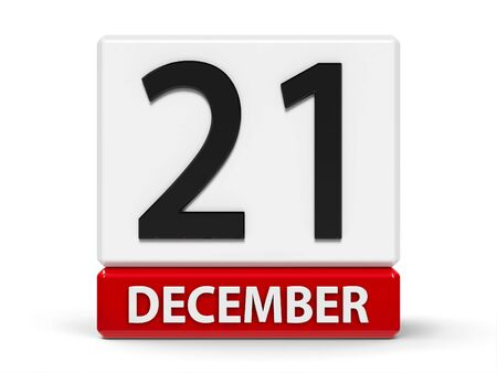 Red and white calendar icon from cubes - The Twenty First of December - on a white table, three-dimensional rendering, 3D illustration