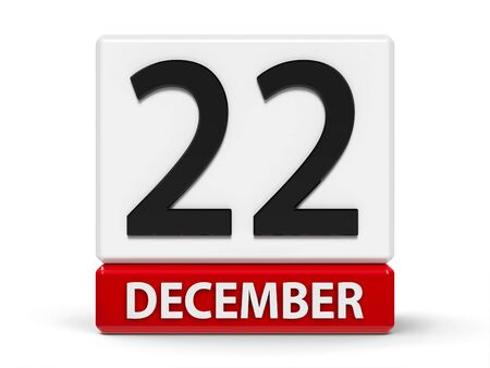 Red and white calendar icon from cubes - The Twenty Second of December - on a white table, three-dimensional rendering, 3D illustration