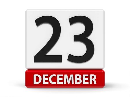 Red and white calendar icon from cubes - The Twenty Third of December - on a white table, three-dimensional rendering, 3D illustration
