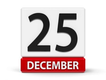 Red and white calendar icon from cubes - The Twenty Fifth of December - Christmas Day - on a white table, three-dimensional rendering, 3D illustration