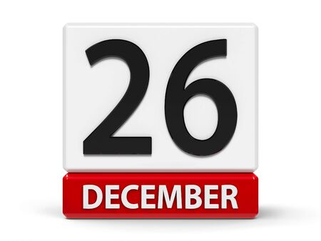 Red and white calendar icon from cubes - The Twenty Sixth of December - on a white table - Boxing Day, three-dimensional rendering, 3D illustration Stock fotó