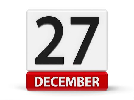 Red and white calendar icon from cubes - The Twenty Seventh of December - on a white table, three-dimensional rendering, 3D illustration