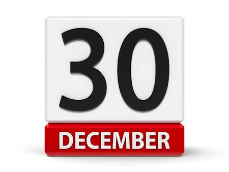Red and white calendar icon from cubes - The Thirtieth of December - on a white table - Republic Day in Madagascar, three-dimensional rendering, 3D illustration Stock fotó