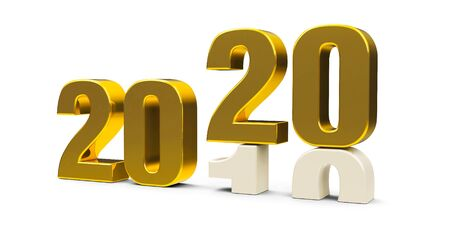 Gold 2019-2020 change represents the new year 2020, three-dimensional rendering, 3D illustration