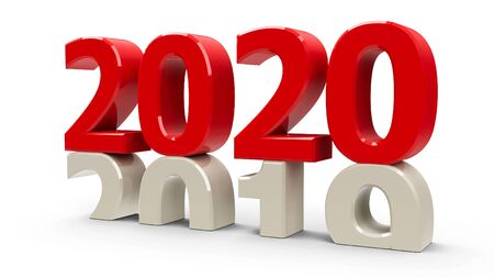 2019-2020 change represents the new year 2020, three-dimensional rendering, 3D illustration