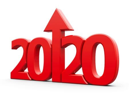 Red 2020 with arrow up isolated on white background, represents growth in the new year 2020, three-dimensional rendering, 3D illustration Stock fotó