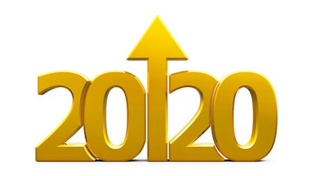 Gold 2020 with arrow up isolated on white background, represents growth in the new year 2020, three-dimensional rendering, 3D illustration