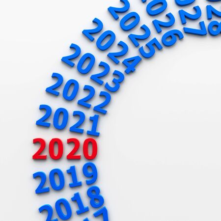 2020 future in the circle represents the new year 2020, three-dimensional rendering, 3D illustration Stock fotó