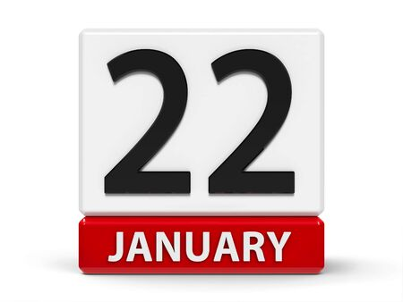 Red and white calendar icon from cubes - The Twenty Second of January - on a white table, three-dimensional rendering, 3D illustration