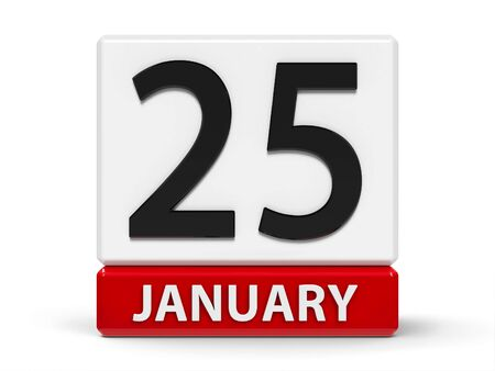 Red and white calendar icon from cubes - The Twenty Fifth of January - on a white table, three-dimensional rendering, 3D illustration Banco de Imagens