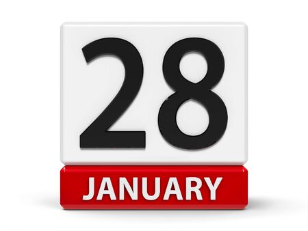 Red and white calendar icon from cubes - The Twenty Eighth of January - on a white table - Data Protection Day, three-dimensional rendering, 3D illustration