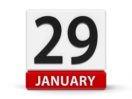Red and white calendar icon from cubes - The Twenty Ninth of January - on a white table, three-dimensional rendering, 3D illustration