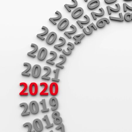 2020 future in the circle represents the new year 2020, three-dimensional rendering, 3D illustration Banco de Imagens
