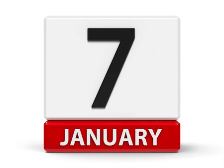 Red and white calendar icon from cubes - The Seventh of January - on a white table, three-dimensional rendering, 3D illustration