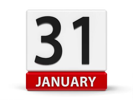 Red and white calendar icon from cubes - The Thirty First of January - on a white table, three-dimensional rendering, 3D illustration