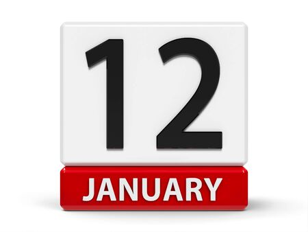 Red and white calendar icon from cubes - The Twelfth of January - on a white table, three-dimensional rendering, 3D illustration