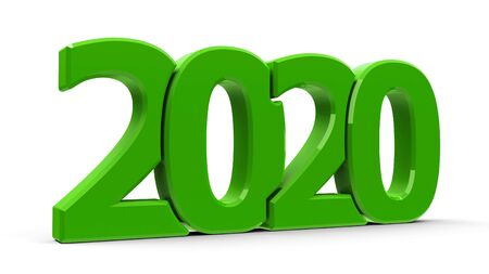 Green 2020 symbol, icon or button isolated on white background, represents the new year 2020, three-dimensional rendering, 3D illustration