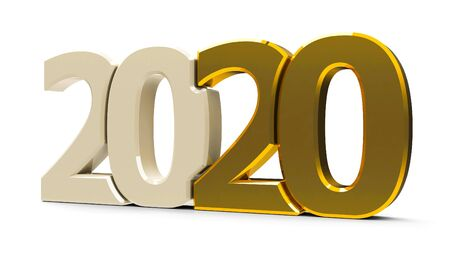 Gold 2020 symbol, icon or button isolated on white background, represents the new year 2020, three-dimensional rendering, 3D illustration Banco de Imagens