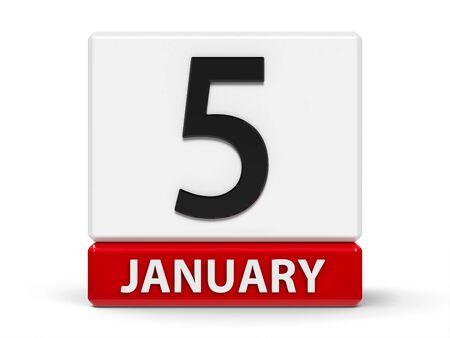 Icono de calendario rojo y blanco de cubos - el cinco de enero - sobre una mesa blanca, representación tridimensional, ilustración 3D Foto de archivo
