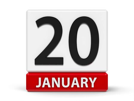 Red and white calendar icon from cubes - The Twentieth of January - on a white table - Martin Luther King Day, three-dimensional rendering, 3D illustration